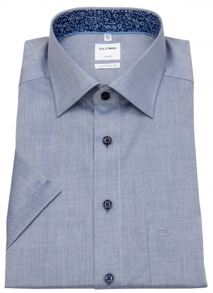 OLYMP Kurzarmhemd - Comfort Fit - Patch - Kontrastknöpfe - blau - 0714 12 18