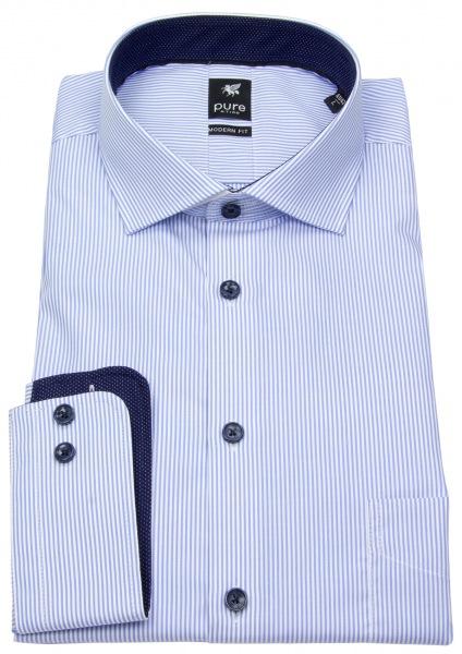 Pure Hemd - Modern Fit - Haikragen - Streifen - hellblau / weiß - 3593-424 160