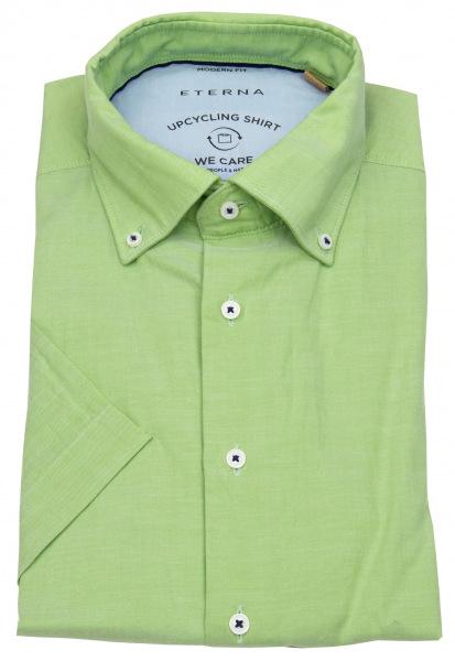 Eterna Kurzarmhemd - Modern Fit - Upcycling Shirt - grün - 3330 WS74 45