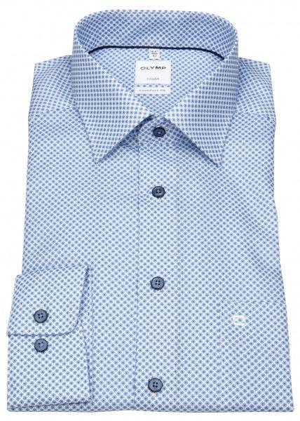OLYMP Hemd - Comfort Fit - New Kent - Print - hellblau / weiß - 1064 54 11