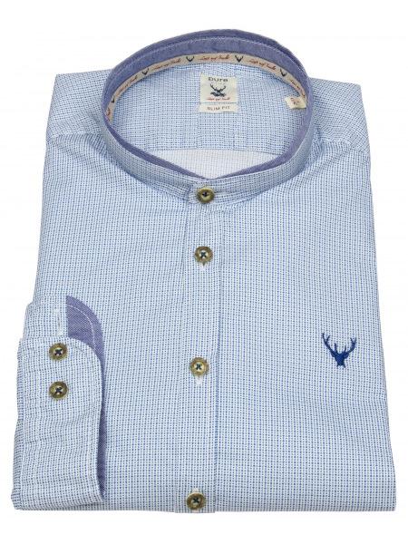 Pure Trachtenhemd - Slim Fit - Stehkragen - hellblau / weiß - 5014-21690 170