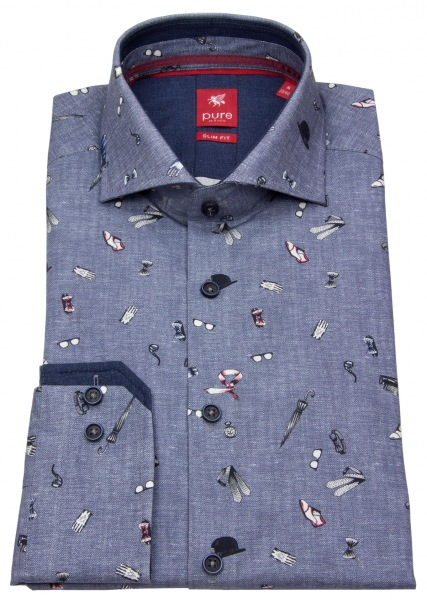 Pure Hemd - Slim Fit - Print - blau - 61511-21714 173