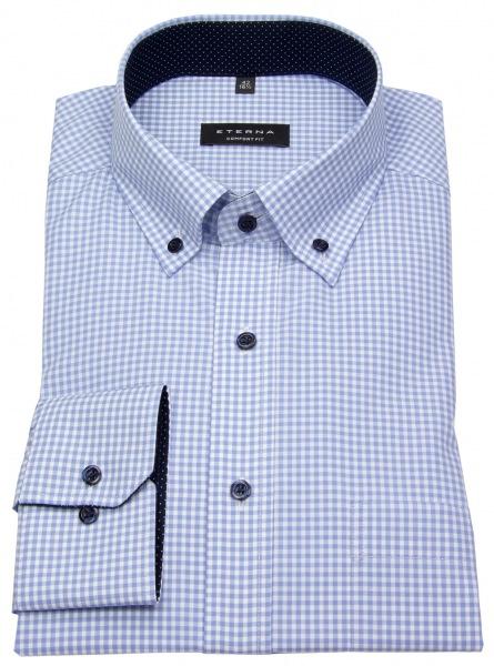 Eterna Hemd - Comfort Fit - Button Down - hellblau / weiß - 8913 E144 12