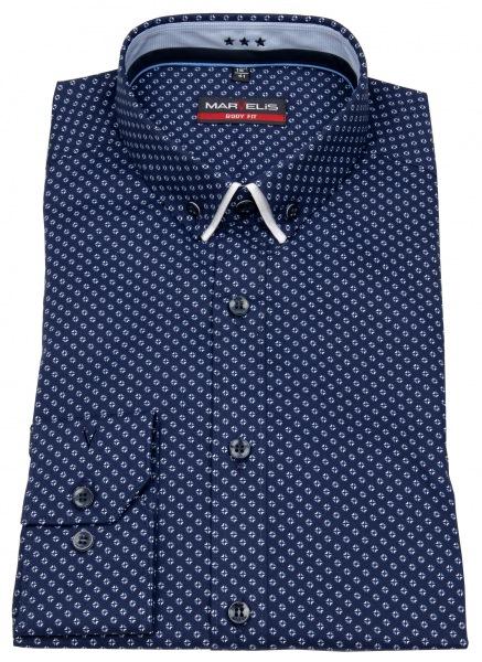 Marvelis Hemd - Body Fit - Button Down - Doppelkragen - blau / weiß - 7521 44 11