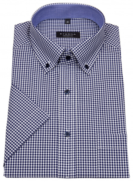 Eterna Kurzarmhemd - Comfort Fit - Button Down - kariert - dunkelblau - 8917 K144 16