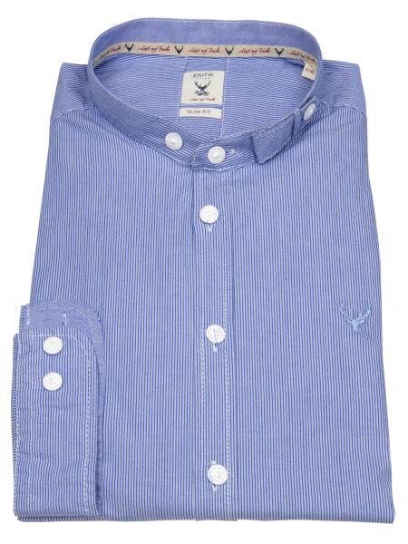 Pure Trachtenhemd - Slim Fit - Stehkragen - Streifen - blau / weiß - 12609-21698 163