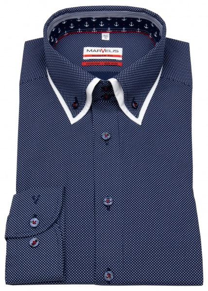 Marvelis Hemd - Modern Fit - unterlegter Button Down Kragen - dunkelblau - 7322 54 14