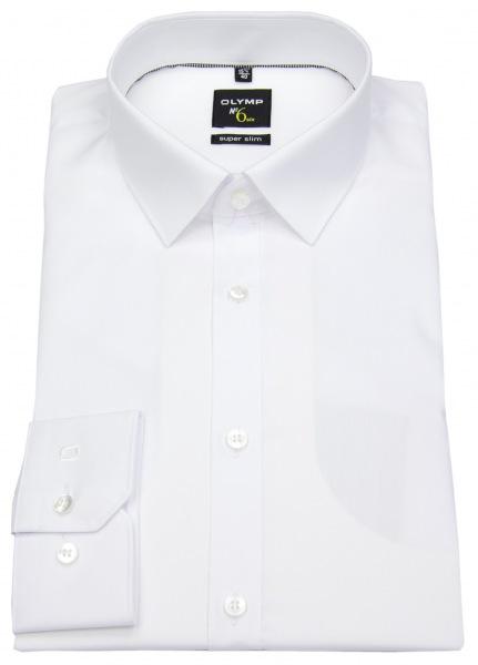 OLYMP Hemd - No. Six Super Slim - weiß - extra langer Arm 69cm - 0466 69 00