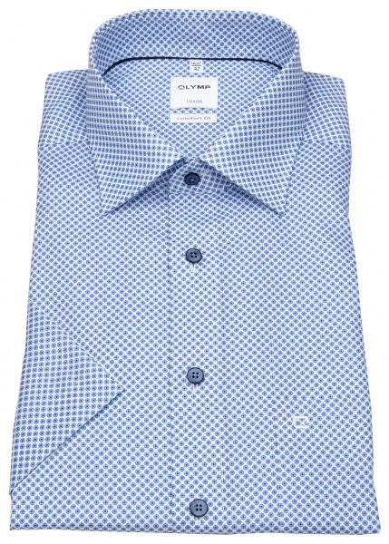 OLYMP Kurzarmhemd - Comfort Fit - New Kent - Print - hellblau / weiß - 1064 52 11