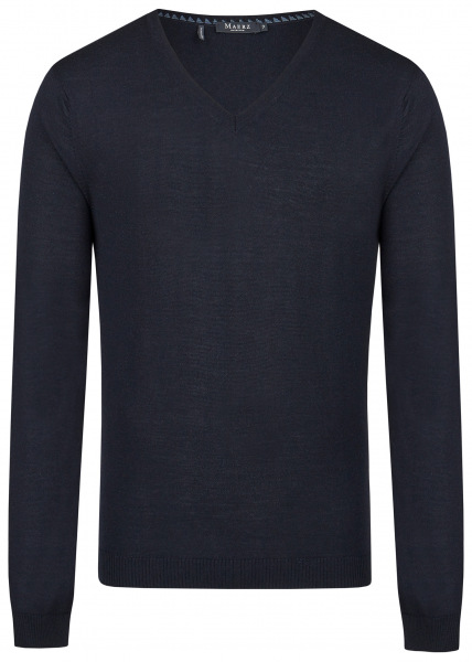 MAERZ Muenchen Pullover - Modern Fit - V-Ausschnitt - Navy Blau - 403800 399