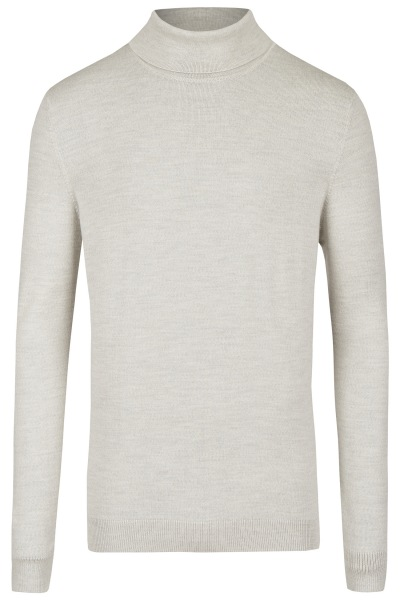 MAERZ Muenchen Pullover - Modern Fit - Merinowolle - Rollkragen - hellgrau - 405400 507