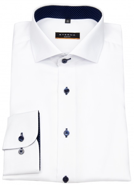 Eterna Hemd - Slim Fit - Oxford - Kontrastköpfe - weiß - 8100 F132 00