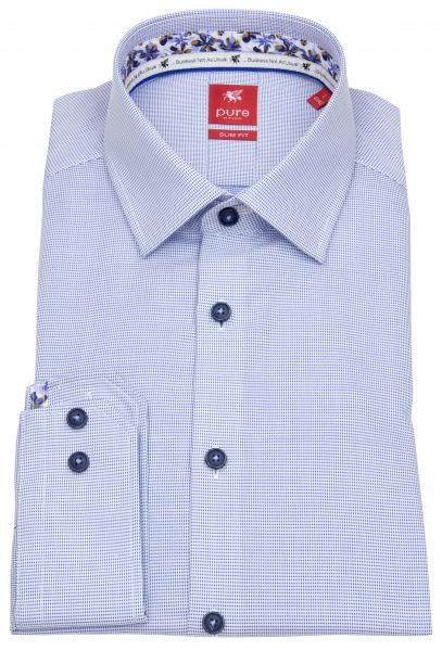 Pure Hemd - Slim Fit - Kontrastknöpfe - blau / weiß - 21010-21105 110
