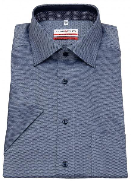 Marvelis Kurzarmhemd - Modern Fit - Patch - Print - blau / hellblau - 7396 12 18