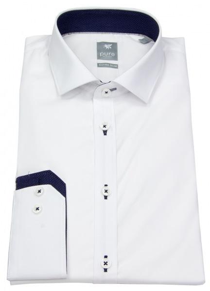 Pure Hemd - Extra Slim - Patch - Kontrastgarn - weiß - 3561 762 900