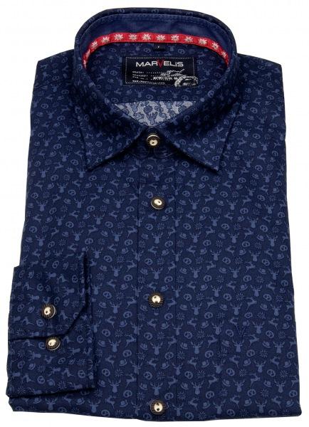Marvelis Trachtenhemd - Comfort Fit - dunkelblau / blau - 6908 44 18