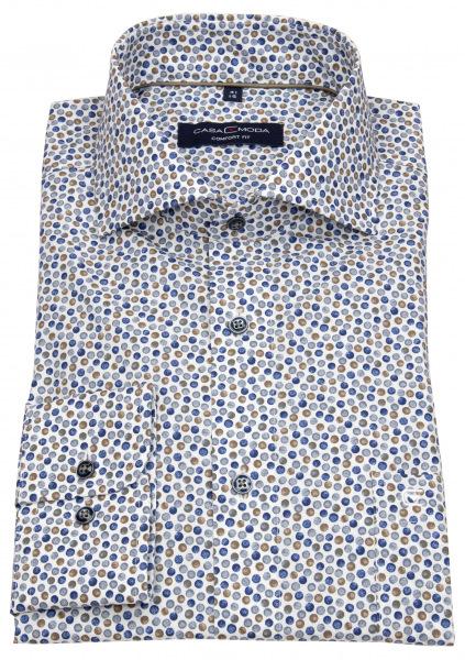 Casa Moda Hemd - Comfort Fit - Print - blau / braun / weiß - 313607800 200
