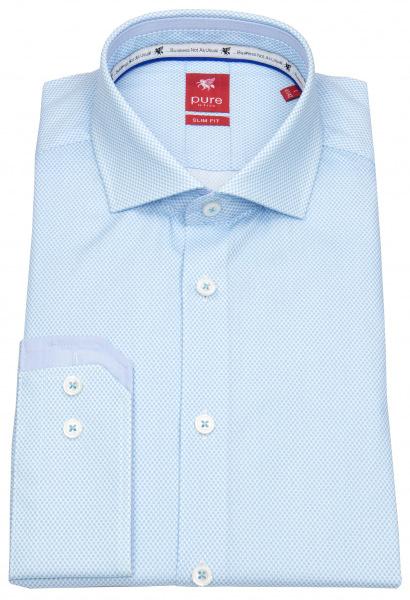 Pure Hemd - Slim Fit - Haifischkragen - hellblau / weiß - 4037-21708 100