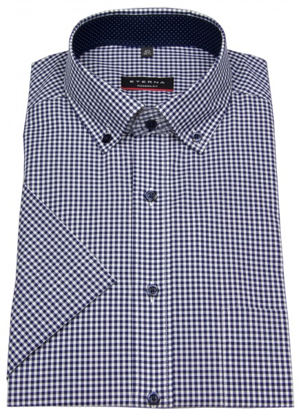 Eterna Kurzarmhemd - Modern Fit - Button Down - dunkelblau / weiß - 8913 C143 16