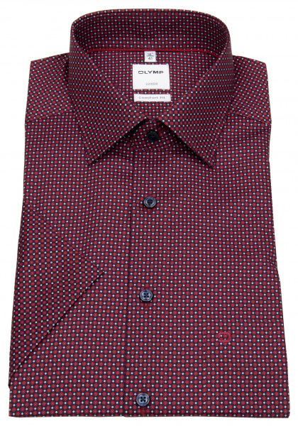OLYMP Kurzarmhemd - Comfort Fit - New Kent - rot / dunkelblau - 1104 72 35