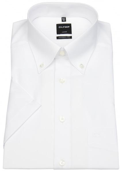 OLYMP Kurzarmhemd - Luxor Modern Fit - Button-Down-Kragen - weiß - 0303 12 00