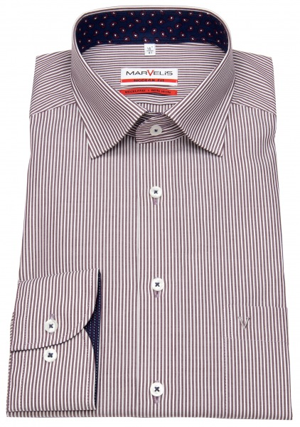 Marvelis Hemd - Modern Fit - Under Button Down - rot / weiß - 7204 44 37