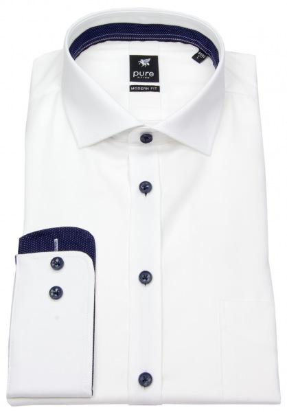 Pure Hemd - Modern Fit - Haikragen - Kontrastknöpfe - weiß - 3592-422 900