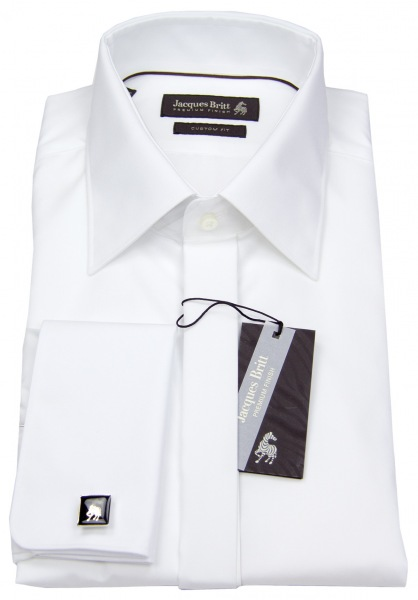 Jacques Britt Smokinghemd - Custom Fit - Umschlagmanschette - weiß - 960275 01