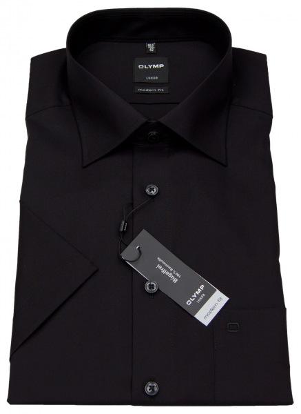 OLYMP Kurzarmhemd - Luxor Modern Fit - schwarz - 0300 12 68