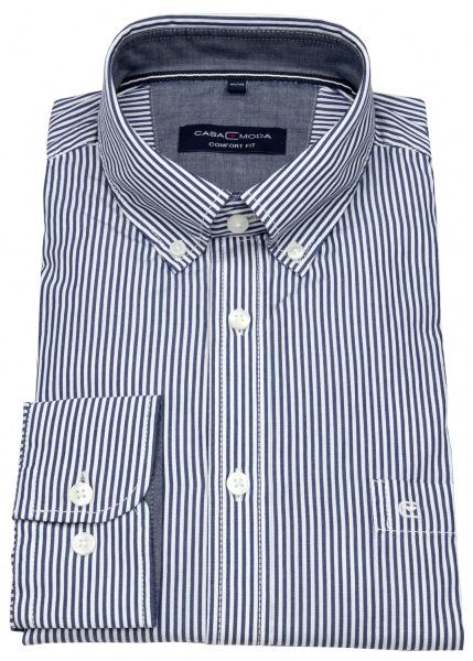 Casa Moda Hemd - Comfort Fit - Button Down Kragen - blau / weiß - 403439900 101