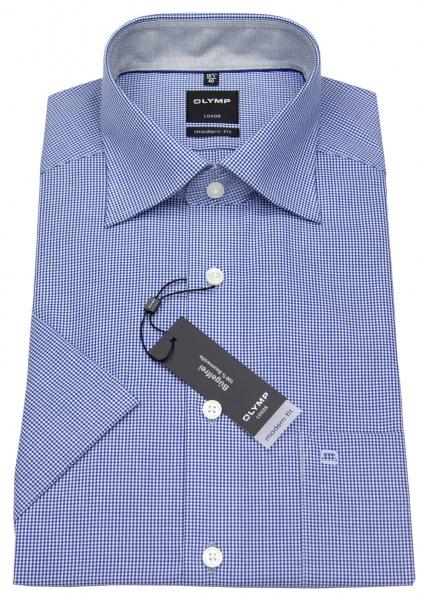 OLYMP Kurzarmhemd - Luxor Modern Fit - Check - blau / weiß - 3390 12 19