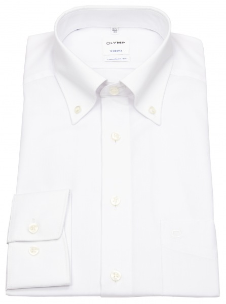 OLYMP Hemd - Tendenz Modern Fit - Button Down Kragen - weiß - 0712 64 00
