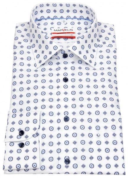 Marvelis Hemd - Modern Fit - Print - weiß / dunkelblau - 7268 74 00