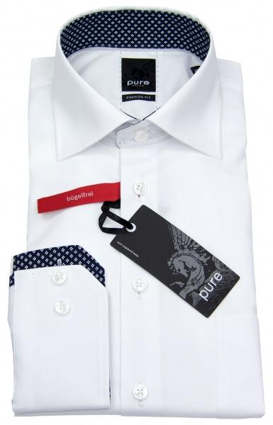 Pure Hemd - Fashion Fit - Chambray - weiß - 3374 466 90