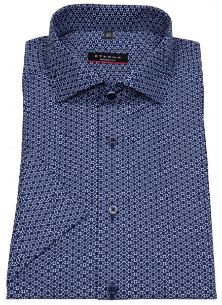 Eterna Kurzarmhemd - Modern Fit - Print - dunkelblau / weiß - 3355 C17V 18