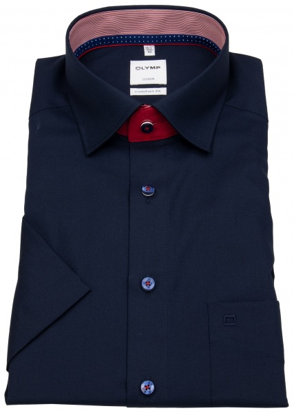 OLYMP Kurzarmhemd - Comfort Fit - Patch - Under Button Down - blau - 0716 12 08
