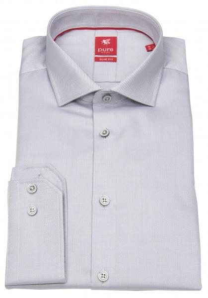 Pure Hemd - Slim Fit - Haifischkragen - grau - 3380 174 700