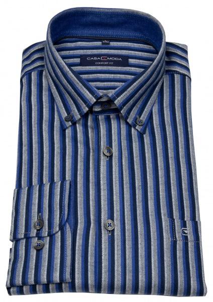 Casa Moda Hemd - Comfort Fit - Button Down Kragen - blau / grau - 483090800 100