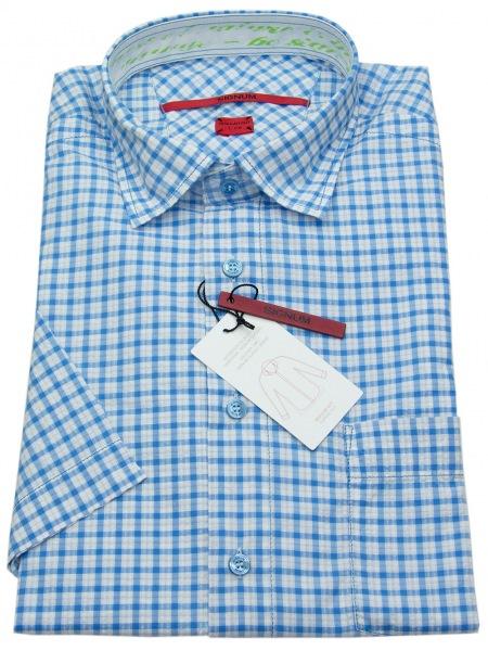 Signum Kurzarmhemd - Regular Cut - blau / weiß kariert - ohne OVP - 121705178 635