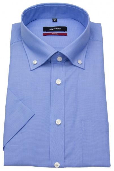 Seidensticker Halbarmhemd - Regular Fit - Button Down Kragen - blau - 003011 14