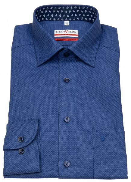 Marvelis Hemd - Modern Fit - Patch - Struktur - blau / dunkelblau - 7356 64 18