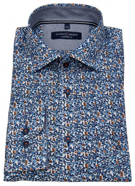Casa Moda Hemd - Comfort Fit - Print - blau / orange - 403422500 100