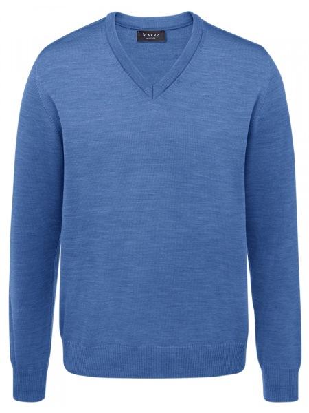 MAERZ Muenchen Pullover - Comfort Fit - V-Ausschnitt - azure - 490400 319