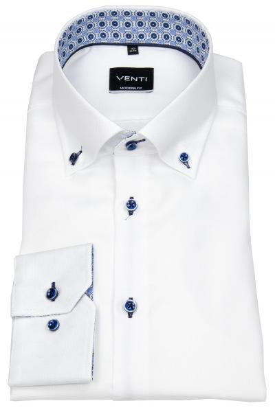 Venti Hemd - Modern Fit - Button Down - Kontrastknöpfe - weiß - 103497100 000
