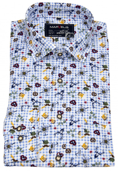 Marvelis Trachtenhemd - Casual Fit - Print - blau / weiß kariert - 6902 64 11
