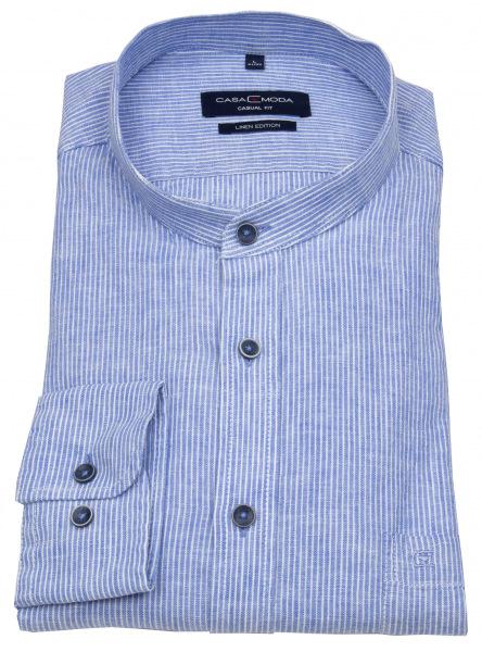Casa Moda Leinenhemd - Casual Fit - Stehkragen - blau / weiß - 403401200 100