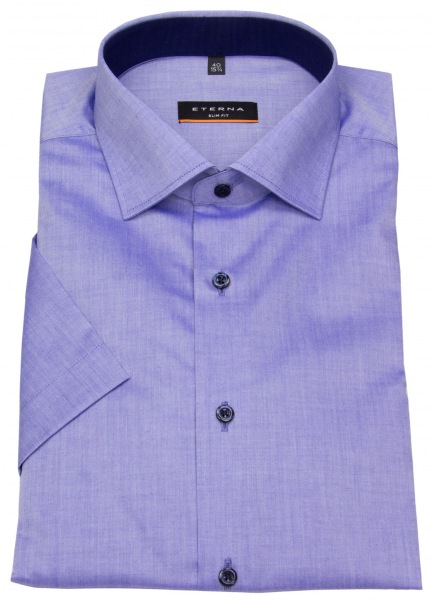 Eterna Kurzarmhemd - Slim Fit - Stretch - Kontrastknöpfe - blau - 8888 G140 15