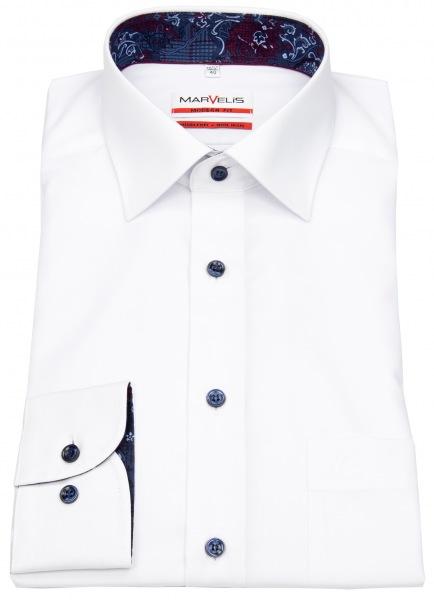 Marvelis Hemd - Modern Fit - Patch - Kontrastknöpfe - weiß - 69cm Arm - 7350 69 00