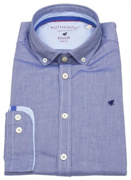 Pure Hemd - Slim Fit - Button Down - Oxford - blau - 3800-510 130