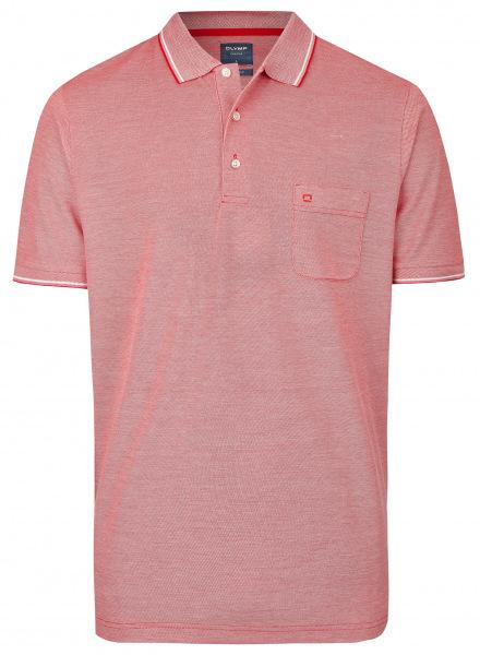 OLYMP Poloshirt - Casual Fit - Piqué - rot / weiß - 5400 72 33